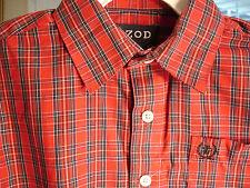 Izod Red Plaid Button Front Long Sleeve Chest pocket Boys Sz 5 Reg New $30