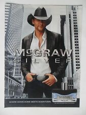 2011 Print Ad Tim McGraw Silver Fragrance Cologne ~ Down Home Meets Downtown
