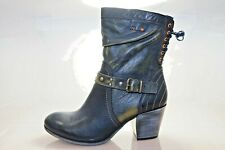 Simen Womens Leather High Ankle Boots Size UK 7 / EU 41 Blue Olive (G2P)