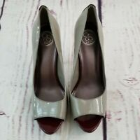 Jessica Simpson Platform Pumps Heels Shoes Peep Toe Women Sz 9 1/2 B / 39.5 Gray