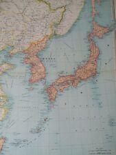 1922 Japanese Empire Large Original Antique Map Japan Korea Yezo Chosen Taiwan