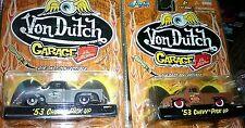 Lot of 2 Von Dutch Garage '53 1953 Chevy Pick Up Truck Gray/Black Die-Cast 1/64
