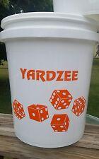 Yardzee 6 Dice Cedar Wood Lawn Yard Game Deluxe Burnt Dots ORANGE Decal bucket