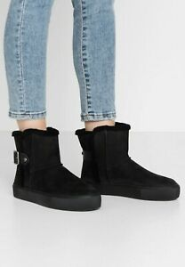 BNIB UGG AUSTRALIA AIKA WOMEN'S BLACK SUEDE LEATHER ANKLE BOOTS UK 5/38 RRP £135