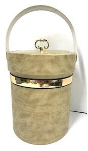Vintage Ice Bucket Beige Gold Vinyl Modern Mid-Century Briars? With Tongs Large