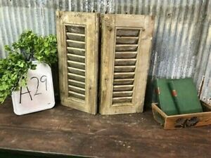 Small Antique Farmhouse Shutter, Natural Wood Shutter Architectural Salvage A29,