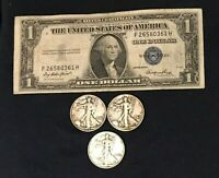 1943 P,D,S Silver Walking Liberty Half Dollar + 1935 Silver Certificate Note