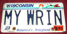 My Wrin Myron Wisconsin Personalized Car Truck License Plate Custom Vanity Tag