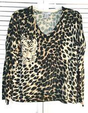 Designer Originals Women's Sweater - Animal Print - Embellishments - Petite Xl