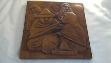 """Arias Relief Raised Mexican Wood Carving, 9 3/4"""" x 9 3/4"""", signed"""