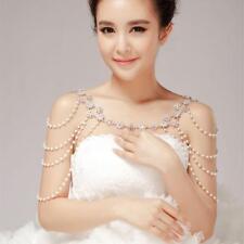 Wedding Bridal Pearl Bra Strap Shoulder Halter Necklace Pair Jewelry Woman Pop