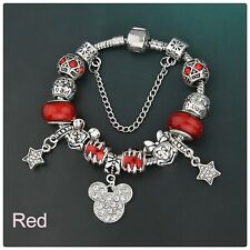 Mickie mouse silver/red 21cm charm bracelet (Breast Cancer charity fundraiser)