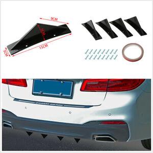 4Pcs Curved Surface Triangle Mini Rear Spoiler Black Fit For Car Rear Bumper Lip