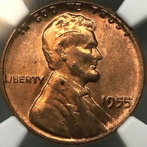 1955/5 POOR MAN DOUBLE DIE & WICKED CRACKED SKULL- WHEAT CENT~ NGC MS65 RD.
