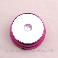 New 3 LED White Light Round Display Stand Base Crystal Ball Paperweight Rose 3""