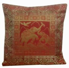 "16"" Indian Brocade Silk Cushion Cover Embroidery Throw Pillow Bohemian Decor"