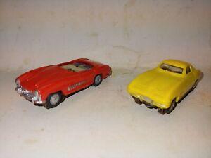 2 Vintage 60s Lionel HO Slot Cars Car,1964 Vette Corvette,Mercedes Benz 300 SL
