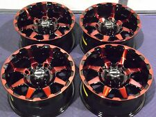"14"" POLARIS RZR XP1000 STI HD6 RADIANT RED & BLACK ATV WHEELS NEW SET 4  WOW"