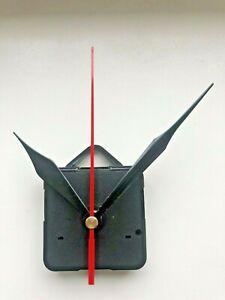 Clock Movement - Black/Red Quartz Sweeping Hands - AA Battery - Mechanism UK