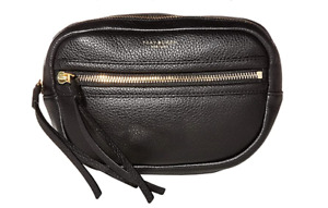 Tory Burch NEW Perry Black Leather Adjustable Belt Bag Zip $248 Tag Authentic