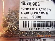 Rohrnieten tubular rivets 2.0x0.3x10.0mm, DIN7340, 20 Stck. pcs