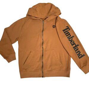 Timberland Boys Tan Brown Zip Up Sweatshirt Sweater Hoodie with Logo Size 10/12
