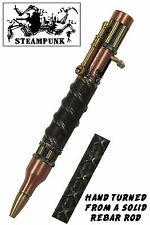 "Antique Copper & Brass Steampunk Bolt Action Pen with 5/8"" Rebar Body / #150"