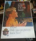 1966 Us Forest Service Smokey The Bear Cardboard Sign