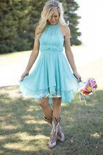 Light Sky Blue Hi-Lo Country Bridesmaid Dresses Short Beach Wedding Party Dress