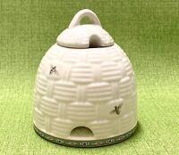 """Pfaltzgraff Naturewood Honey Pot w Lid Ivory w Bees Green Trim No Spoon 5.5""""Tall"""