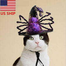 Halloween  US! Pet Dog Cat Funny Sipder Witch Costume Dress Up Cosplay Prop Hat