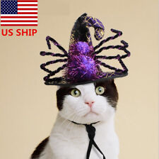 US! Pet Dog Cat Funny Sipder Witch Costume Halloween Dress Up Cosplay Prop Hat