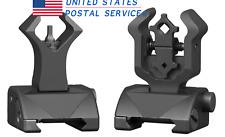 Black Premium Tactical Diamond Aperture Flip Up Front Rear Iron Sights Set US