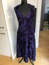 Unbranded Purple Crushed Velvet Fifties Style Halterneck Dress Size 16