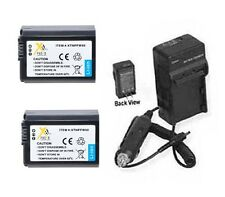 2X Batteries + Charger for Sony SLT-A37 ILCE7R/B ILCE-7 ILCE-7R A3000 ILCE-3000