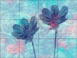 Floral Glass Tile Mural Andrea Haase Kitchen Shower Backsplash POV-AH009