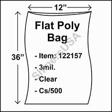 500 3-Mil 12x36 Clear Poly Bag Open Top Lay Flat Long Packaging 122157