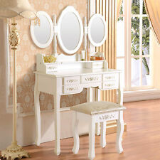 White Vanity Makeup Dressing Table Set w/Stool 7 Drawer&Folding Mirror Wood Desk