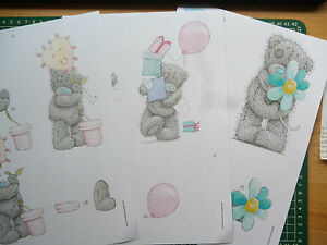 3 sheets tatty teddy decoupage-all different-11 packs to choose - A4