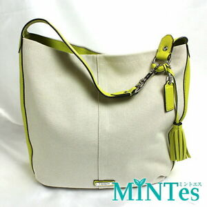 Auth Coach Avery Shoulder Bag F28911 Leather Canvas Natural Yellow [Used]