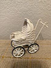 Vintage Miniature Dollhouse Woven Basket Rubber Wheels Stroller Buggy White Wick