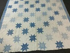 "Victorian Quilt- 67""x73""- Blue Calico Stars w/8 Points/White Background- Cutter"