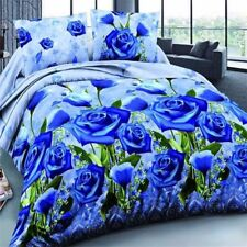 King Size 4x 3D Blue Rose Printed Bedding Set Quilt Cover Bed Sheet Pillowcases