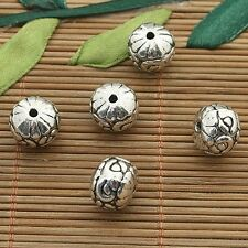 5pcs dark silver tone Oblate flower spacer beads h3773