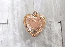 Vintage 10KT Yellow Gold Etched Heart Locket Pendant 2.4grams ~ CS-4632