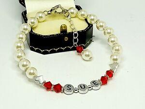 Birthstone Personalised Bracelet Made with Swarovski Elements Gift Boxed