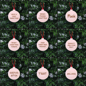 ADULT Rude Christmas Baubles Merry SWEARING OFFENSIVE Hanging Tree Decoration