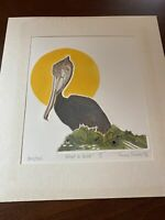 "Vtg 1976 Nancy Nemec Signed Intaglio Etching Print ""What A Bird!"" Numbered"