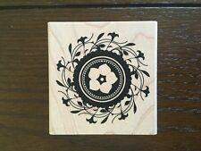 Flower Swirl Circle Wooden Rubber Stamp, Inkadinkado, 98285, BARELY USED