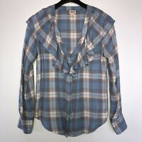 Mossimo Blue Ruffle Plaid Women's Size XS Flannel Shirt Long Sleeve Top